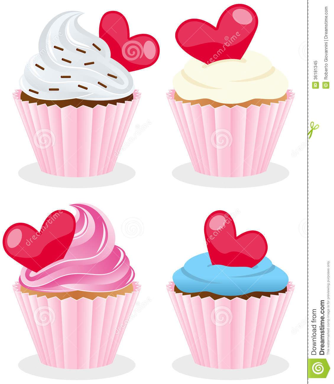 set of four st valentines or saint valentine s day sweet cupcakes uGd0B3 clipart