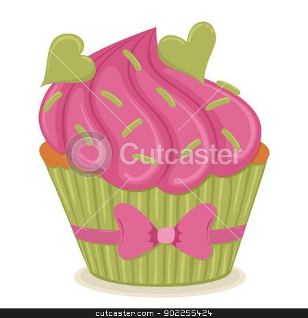 valentine s day cupcake stock vector clipart cupcake with hearts G3ZE36 clipart