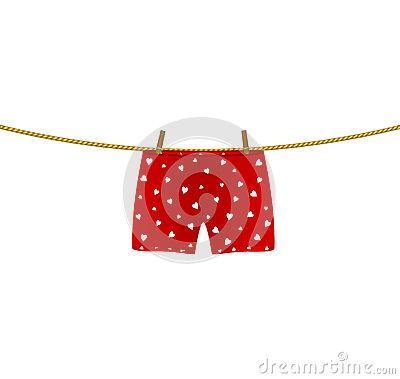 boxer shorts with white hearts hanging on rope stock vector image lRPNZl clipart