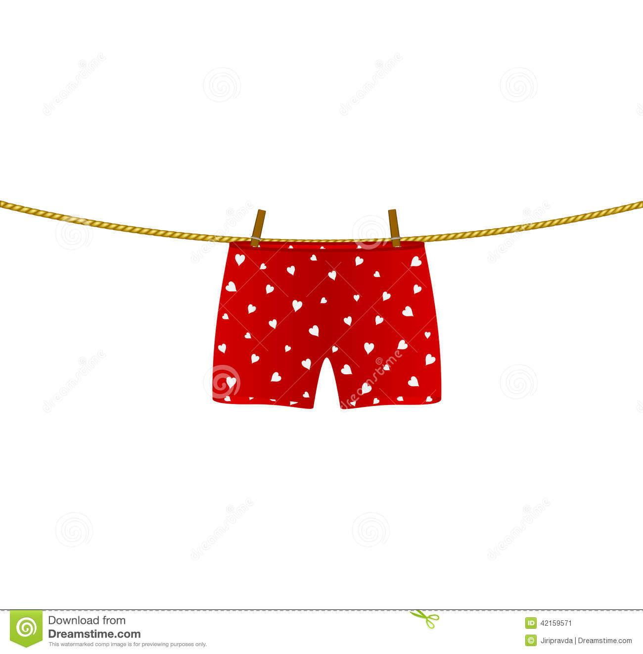 boxer shorts with white hearts hanging on rope stock vector image uUExwY clipart