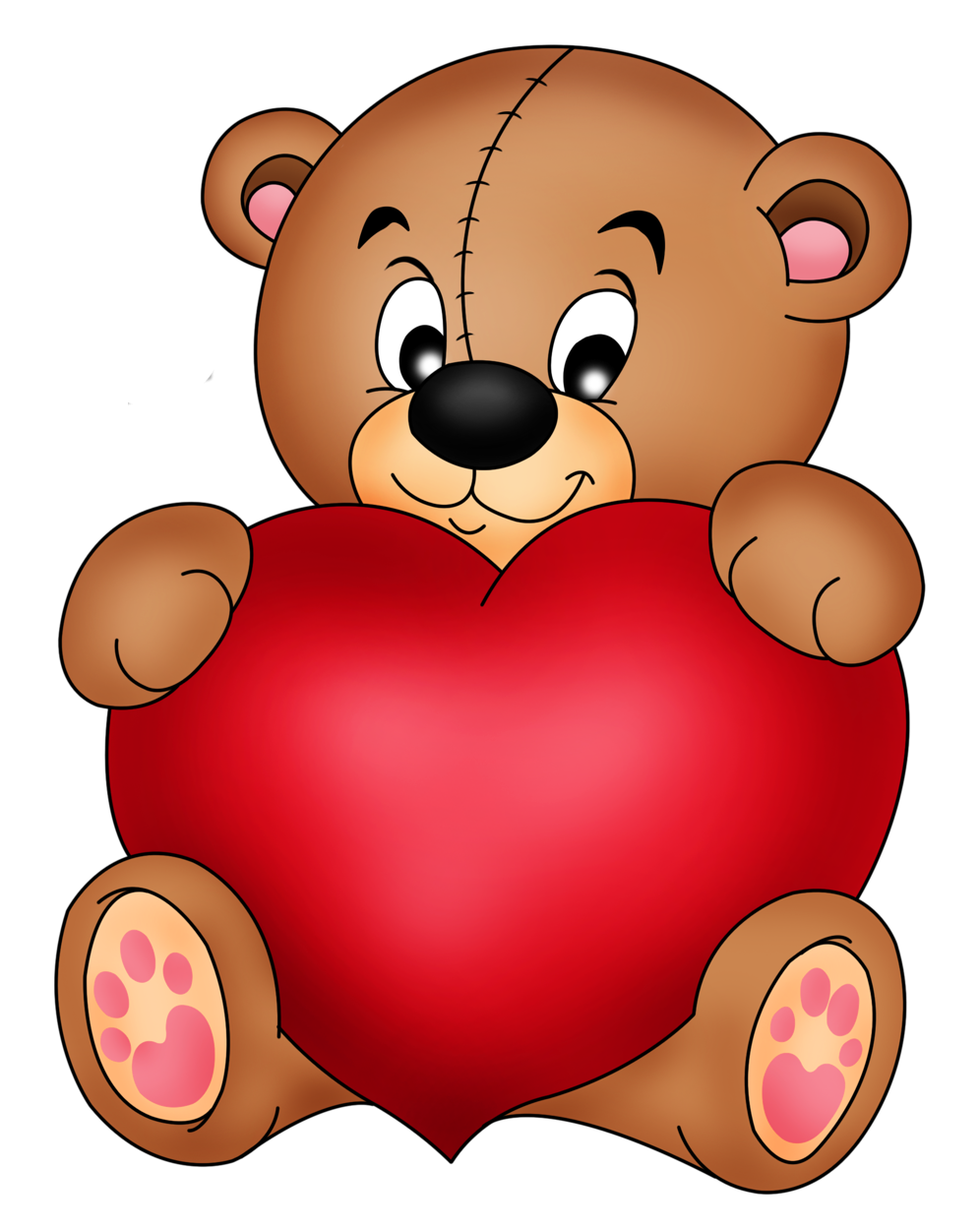 Brown Teddy With Red Heart PNG Clipart