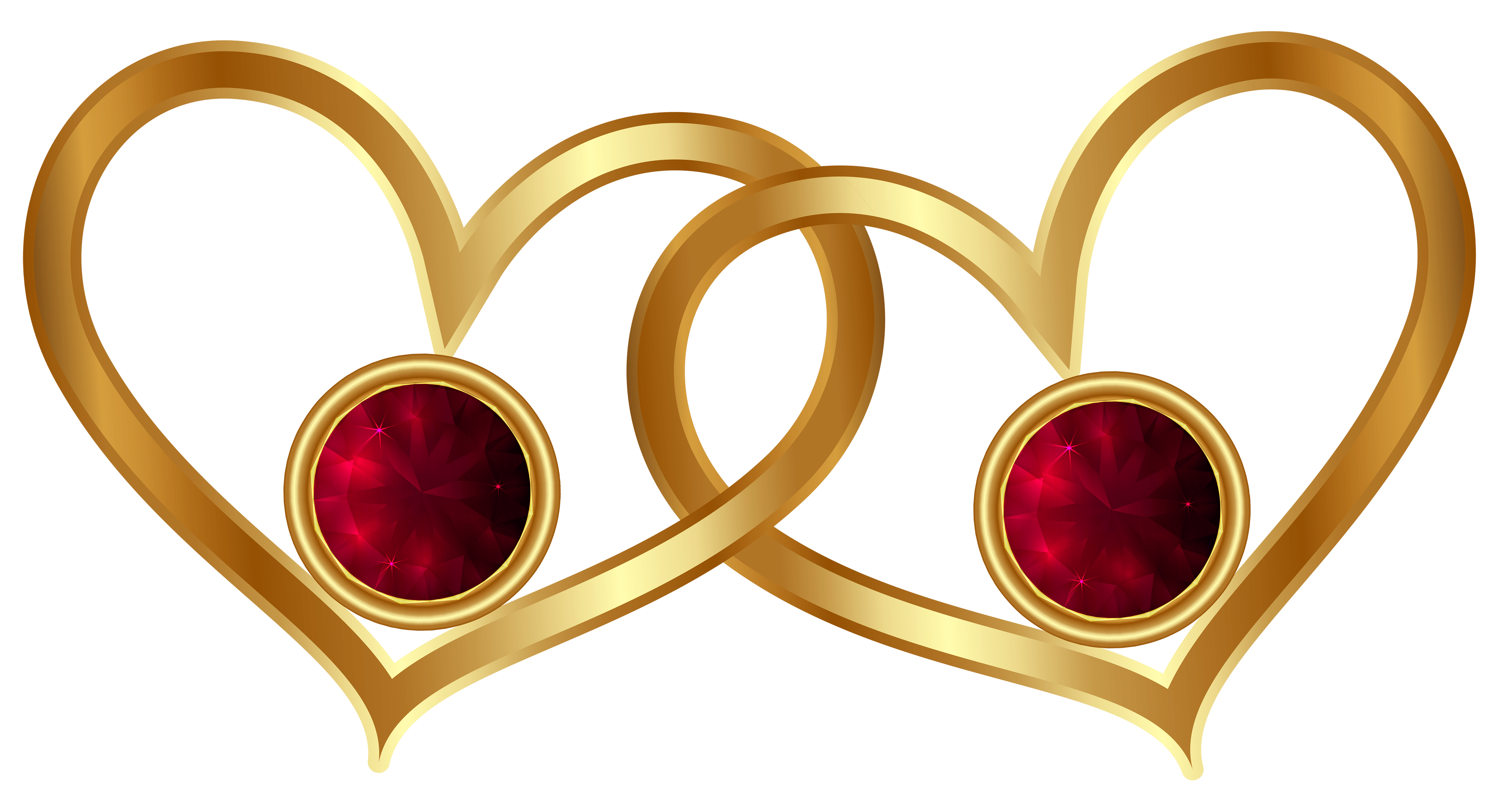 Golden Hearts with Red Diamonds PNG clipart
