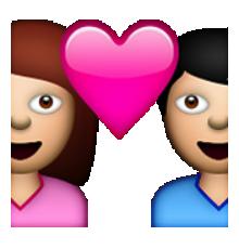 ios emoji couple with heart