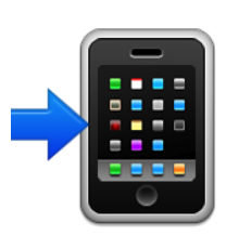 ios emoji mobile phone with rightwards arrow at left