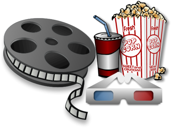 Movie reel with soda drink and popcorn vector clip art