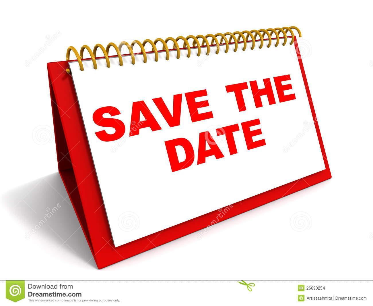 Clip Art Calendar Reminder : Words save the date on a calender in red reminder and