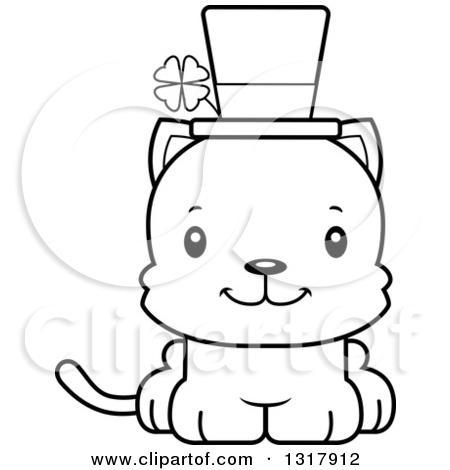 Cartoon Black And White Cute Mad Irish St Patricks Day Kitten Cat By