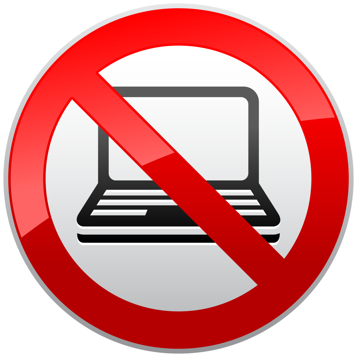 No Laptop Prohibition Sign PNG Clipart