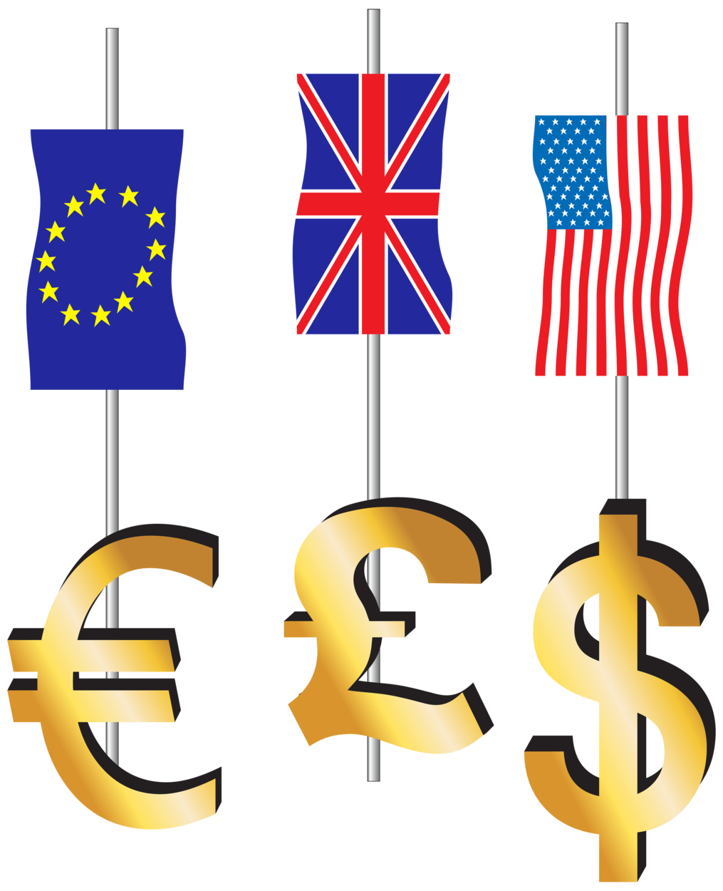 Euro Pound Dollar Signs and Flags PNG Clipart