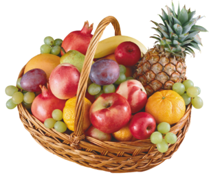 Basket with Fruits PNG Clipart