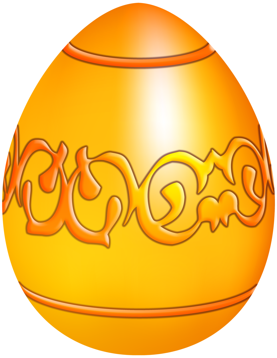 Easter Yellow Decorative Egg PNG Clip Art
