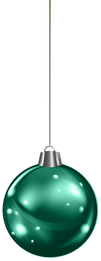 Hanging Green Christmas Ball PNG Clipar