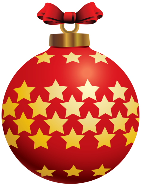 Red Christmas Ball with Stars PNG Clipar