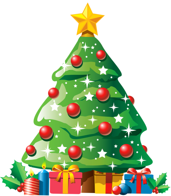 Christmas Tree with Gifts PNG Clipar