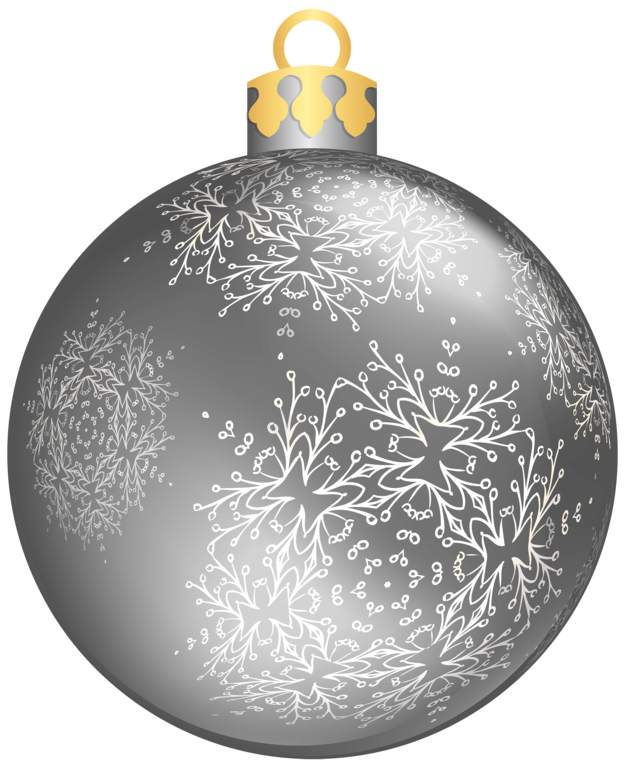 Silver Christmas Ball PNG Clipar