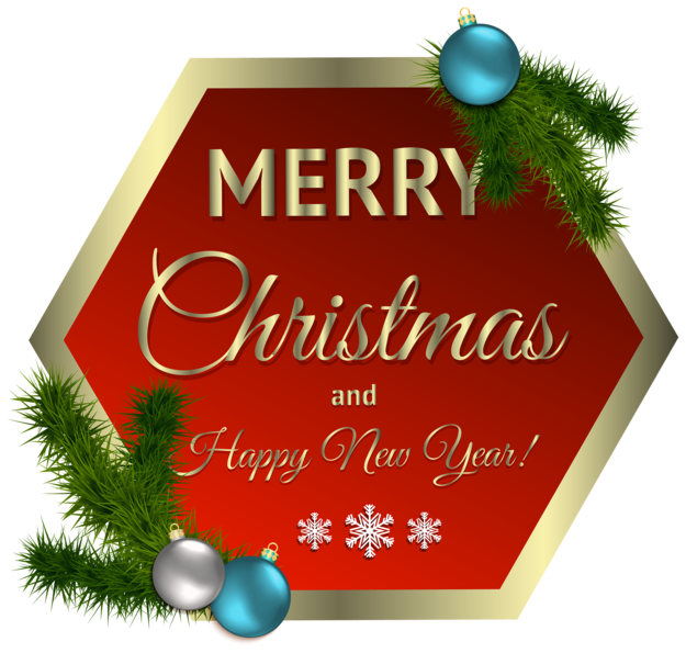 Merry Christmas Red Decor with Ornaments PNG Clipar