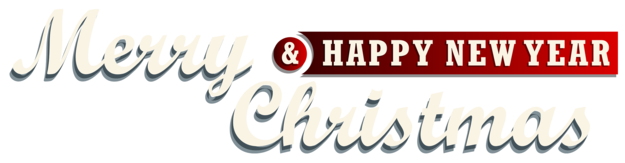 Merry Christmas and New Year Red Text Decor PNG Clipar
