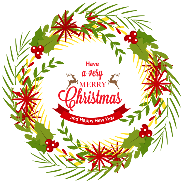 Christmas Wreath with Mistletoe PNG Clipar