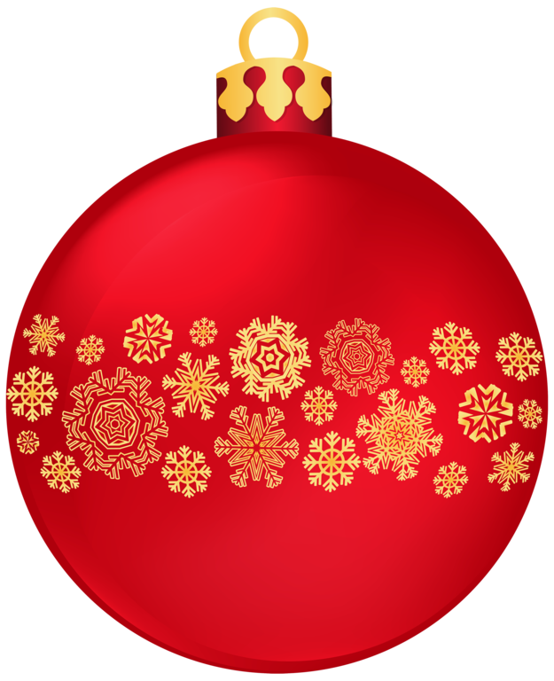 Red Christmas Ball with Snowflakes PNG Clipar