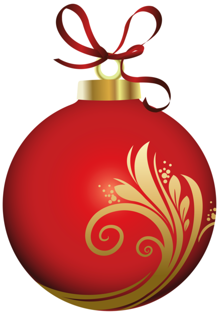 Red Christmas Ball with Decoration PNG Clipar