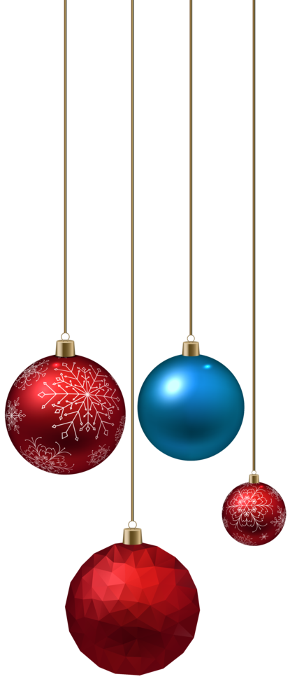 Blue and Red Christmas Ball PNG Clipart