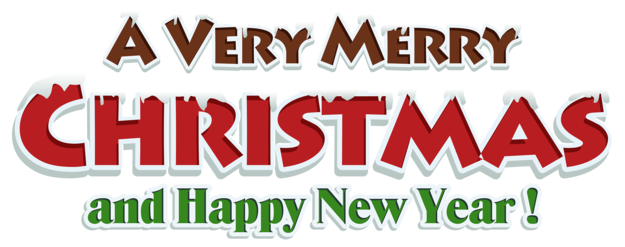 Merry Christmas Red Text Decor PNG Clipar