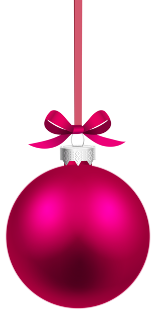 Pink Hanging Christmas Ball PNG Clipar