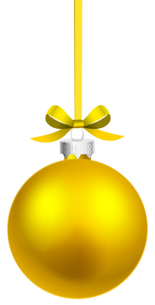 Yellow Hanging Christmas Ball PNG Clipar