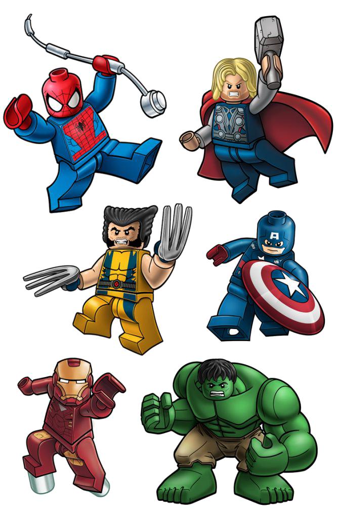 spiderman thor wolverine ironman hulk captainamerica lego clip art