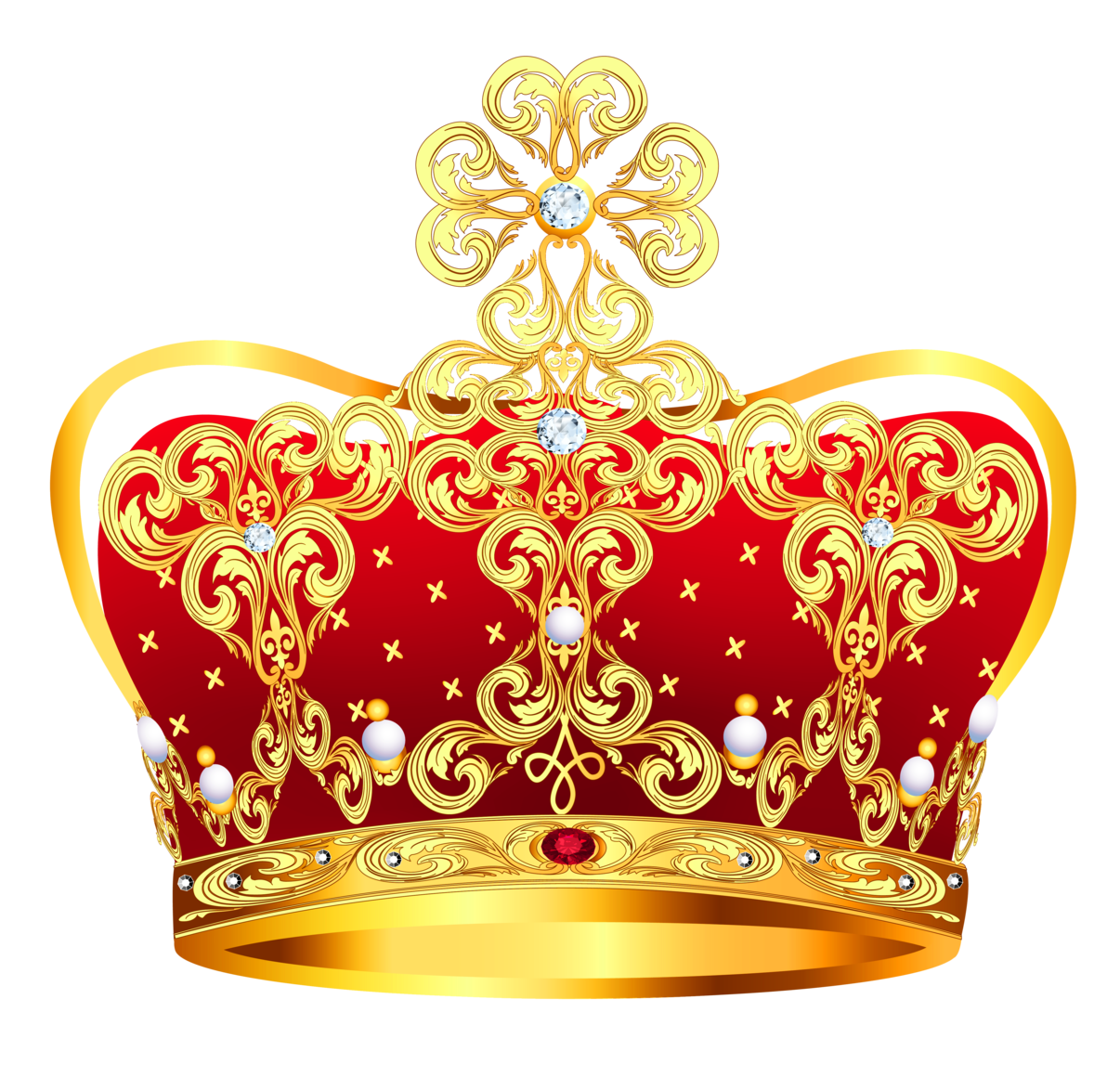 gold and red crown with pearls clipart picture