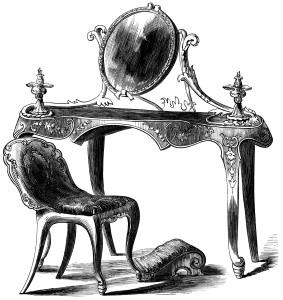 furniture illustration vintage dressing table black and white Xmf7Y8 clipart