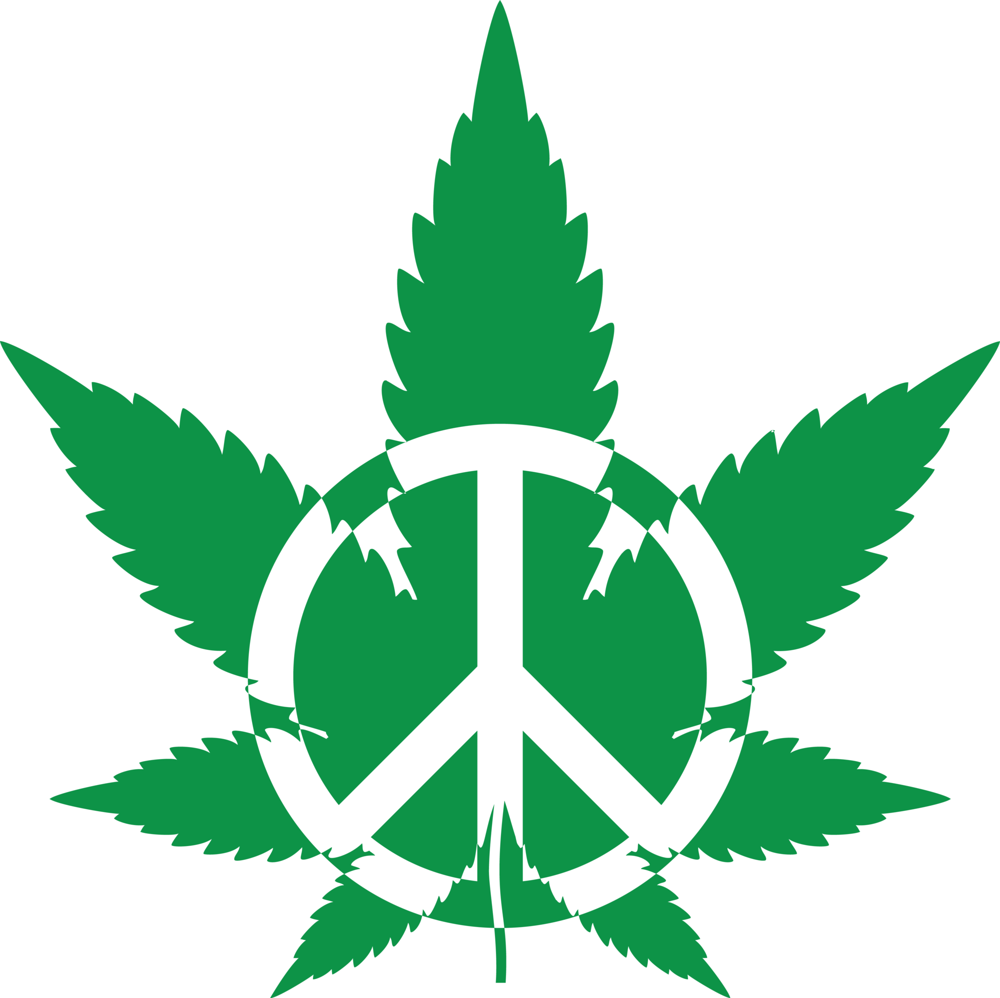 Green Pot Leaf With A Peace Symbol Png