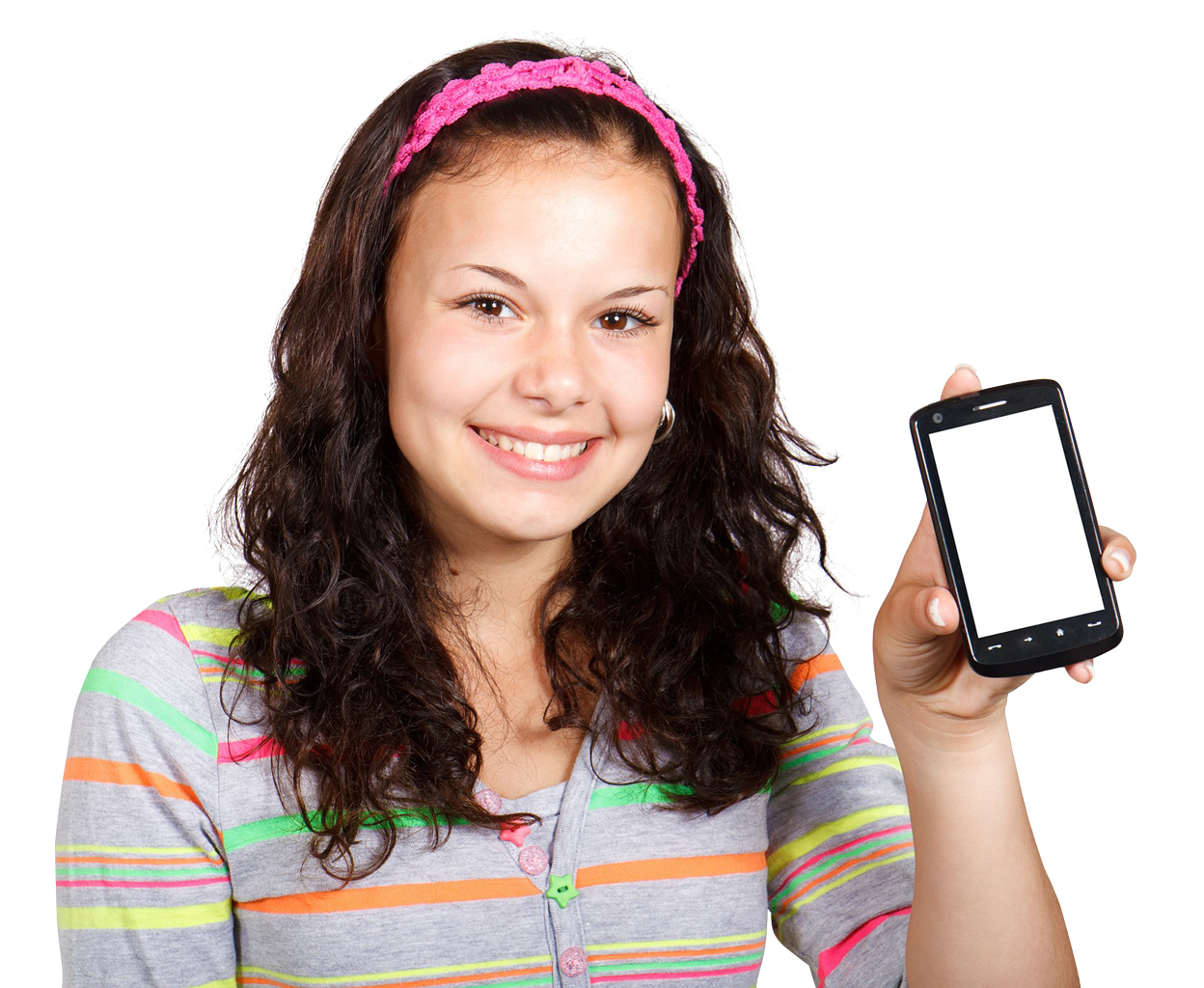 Girl With Mobile Phone PNG Image 1