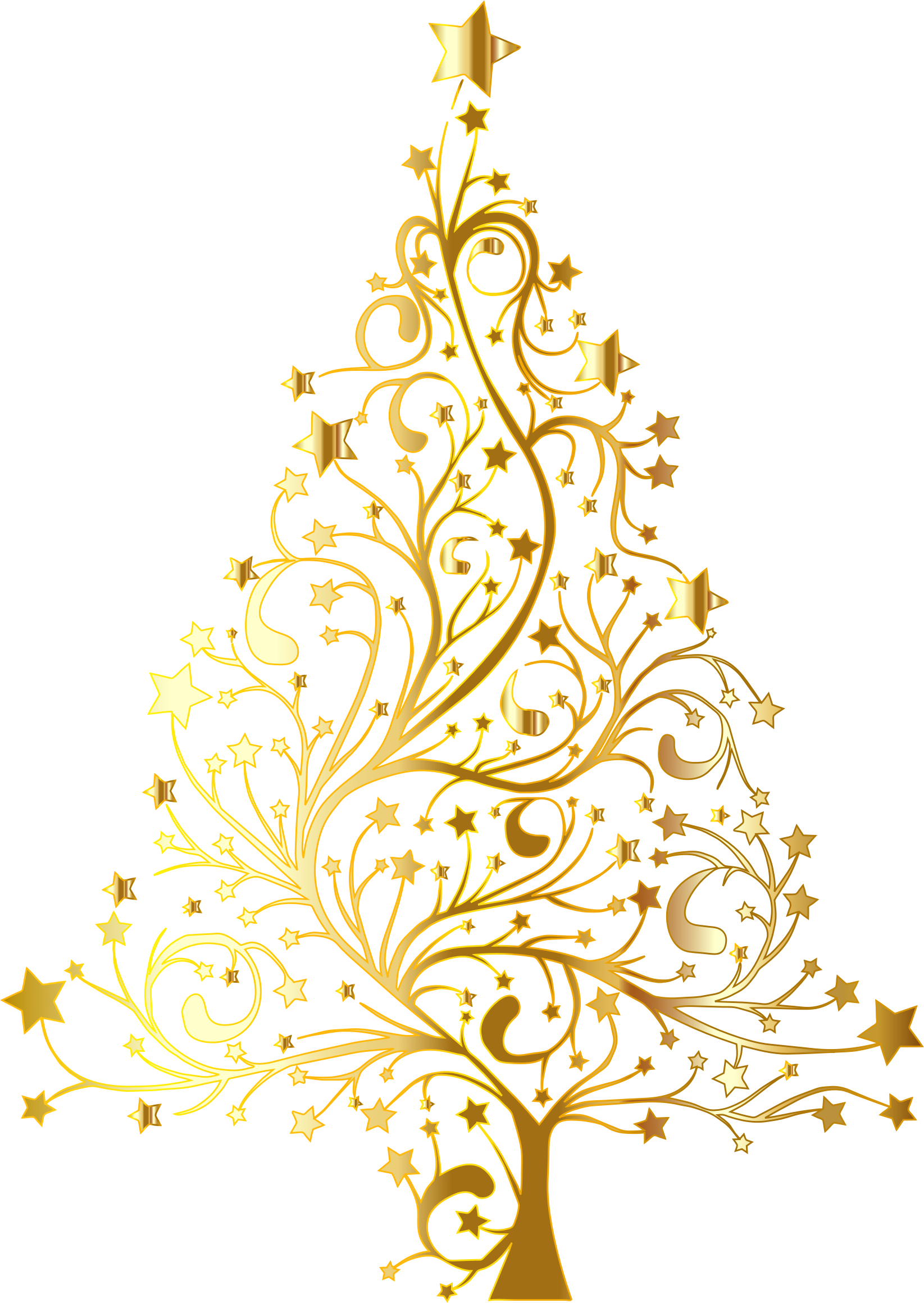 Starry Christmas Tree Gold No Background