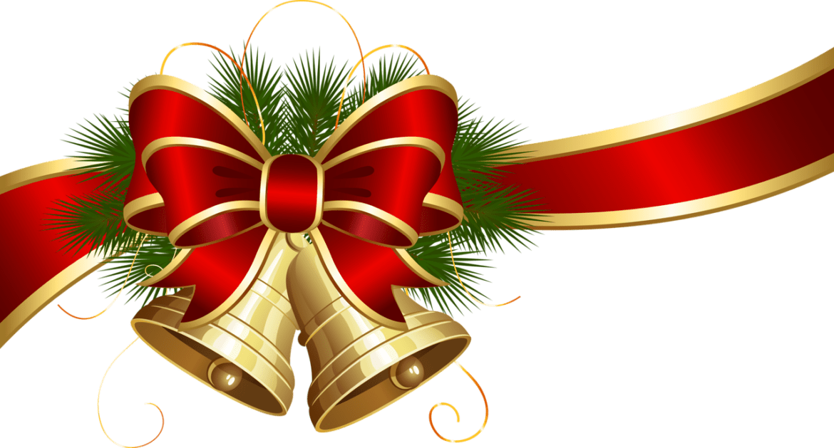 Transparent Christmas Bells With Red Bow Clipart Png