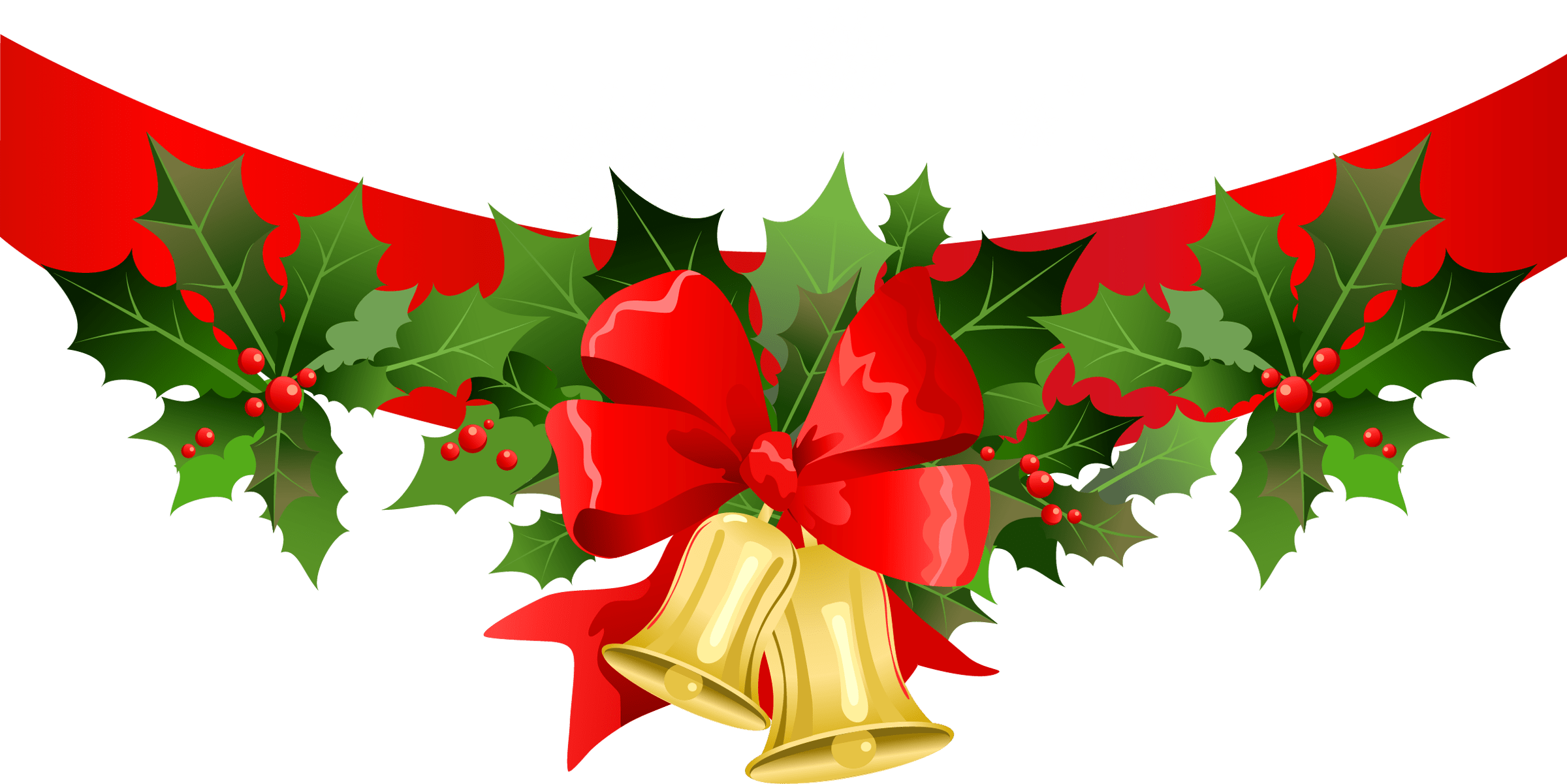 christmas ribbon with gold bells png clipart