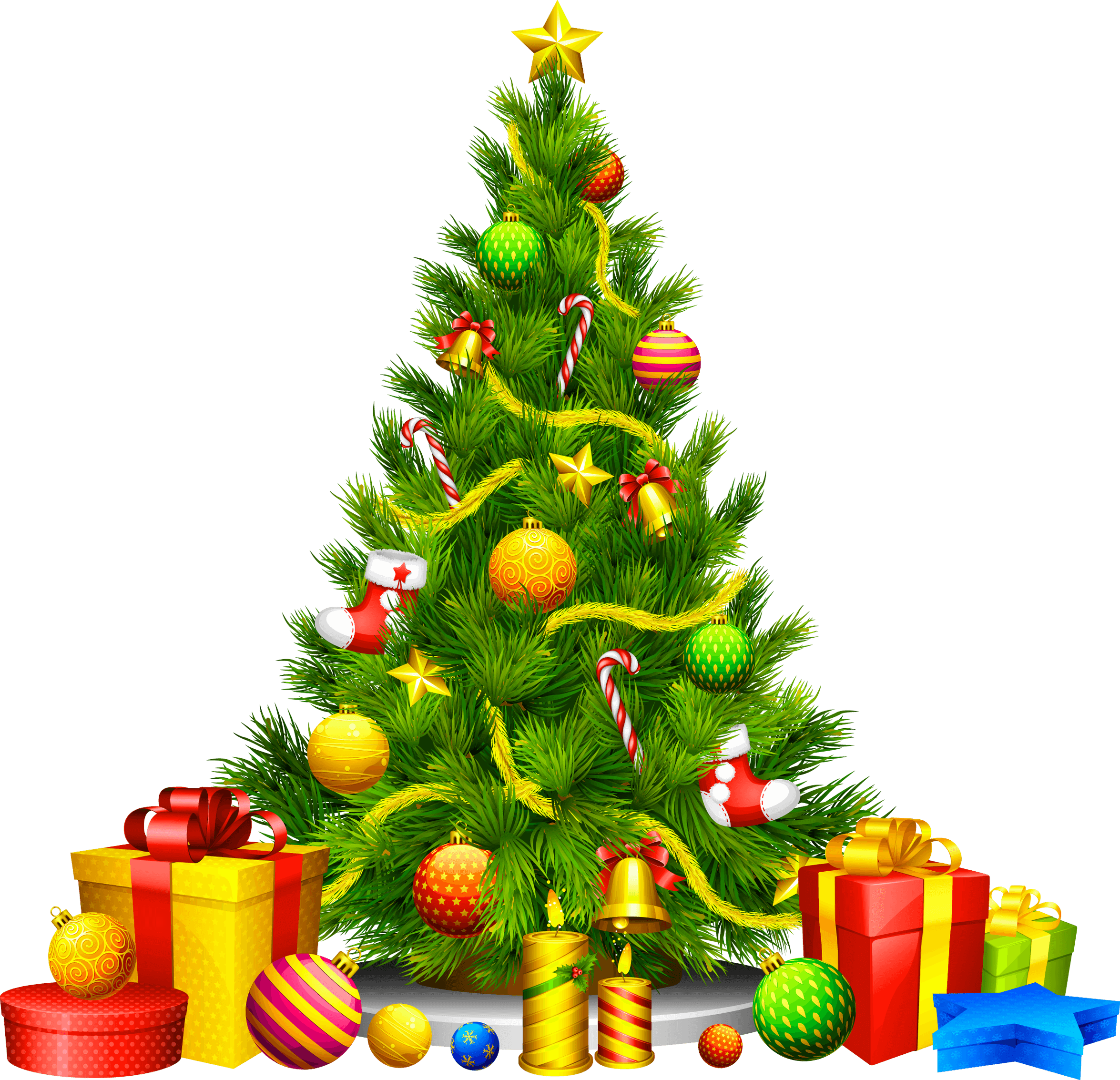 gifts cartoon christmas fir tree png image