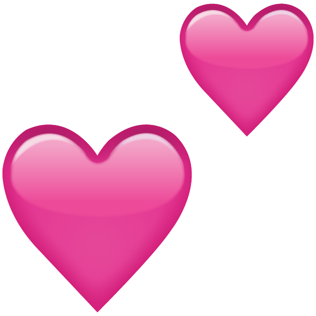 two pink hearts emoji png