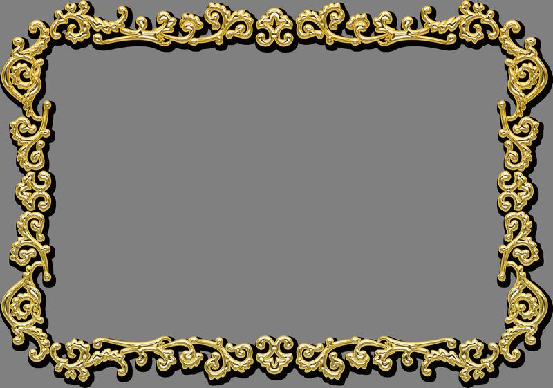 Rectangular Gold Photo Frame PNG Transparent