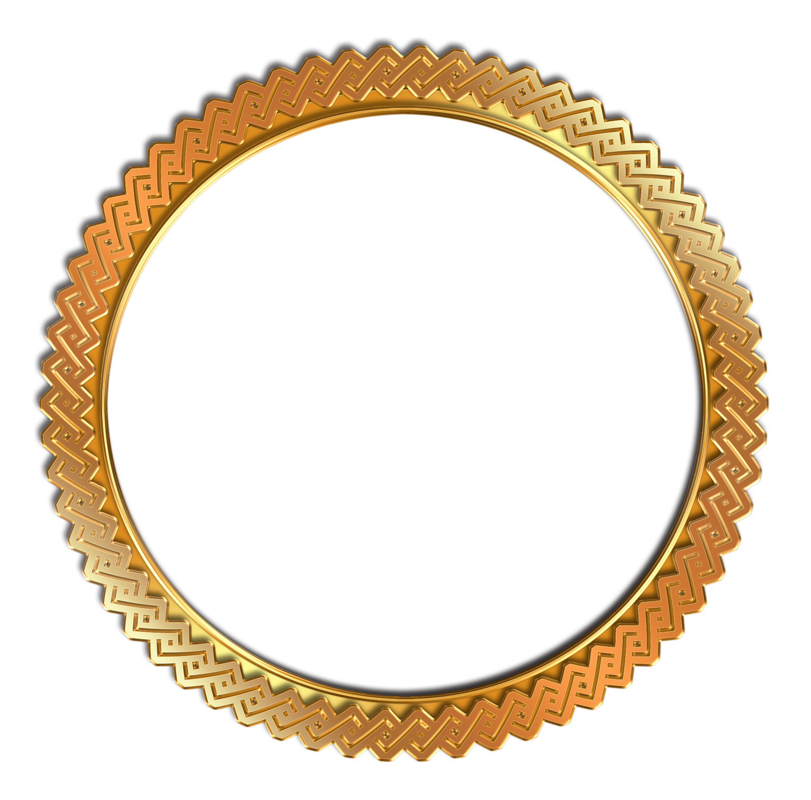 Circle Vintage Photo Frame PNG Transparent Gold