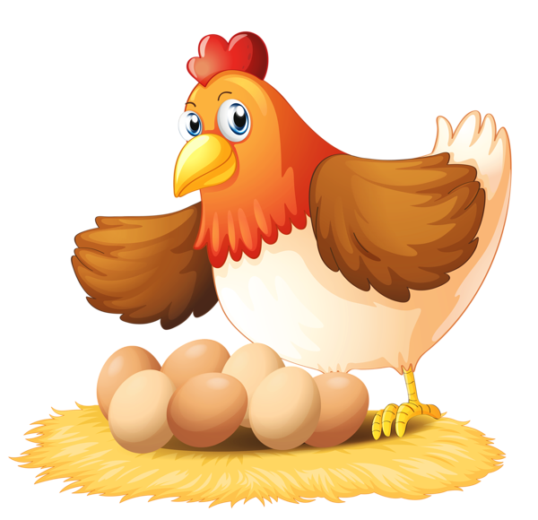 Hen with Eggs PNG Clipart