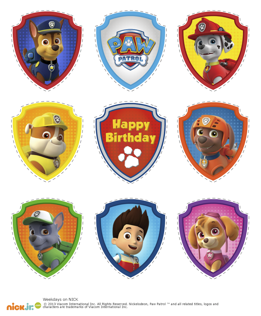 paw patrol cupcake toppers