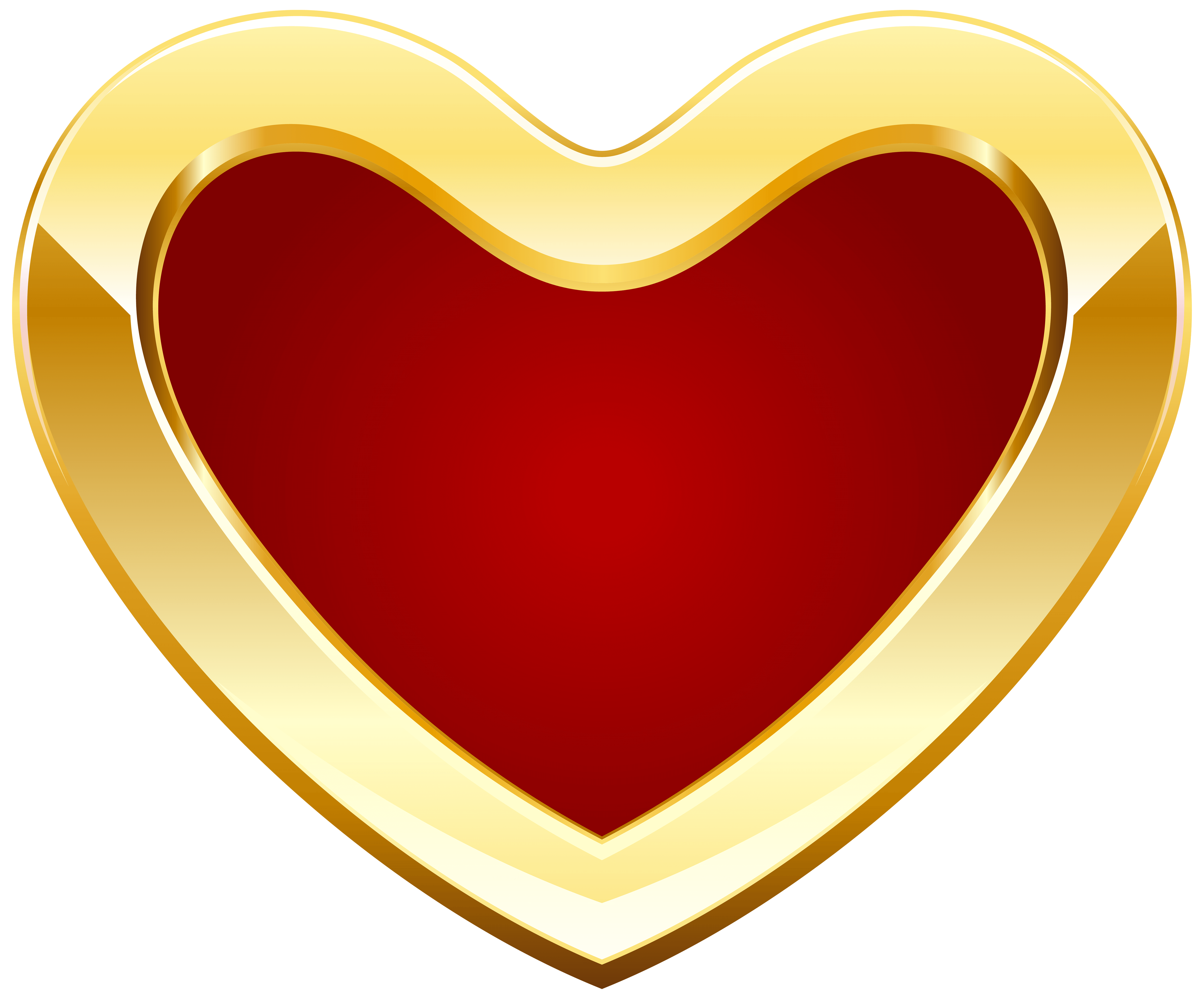 Red and Gold Heart PNG Clipart