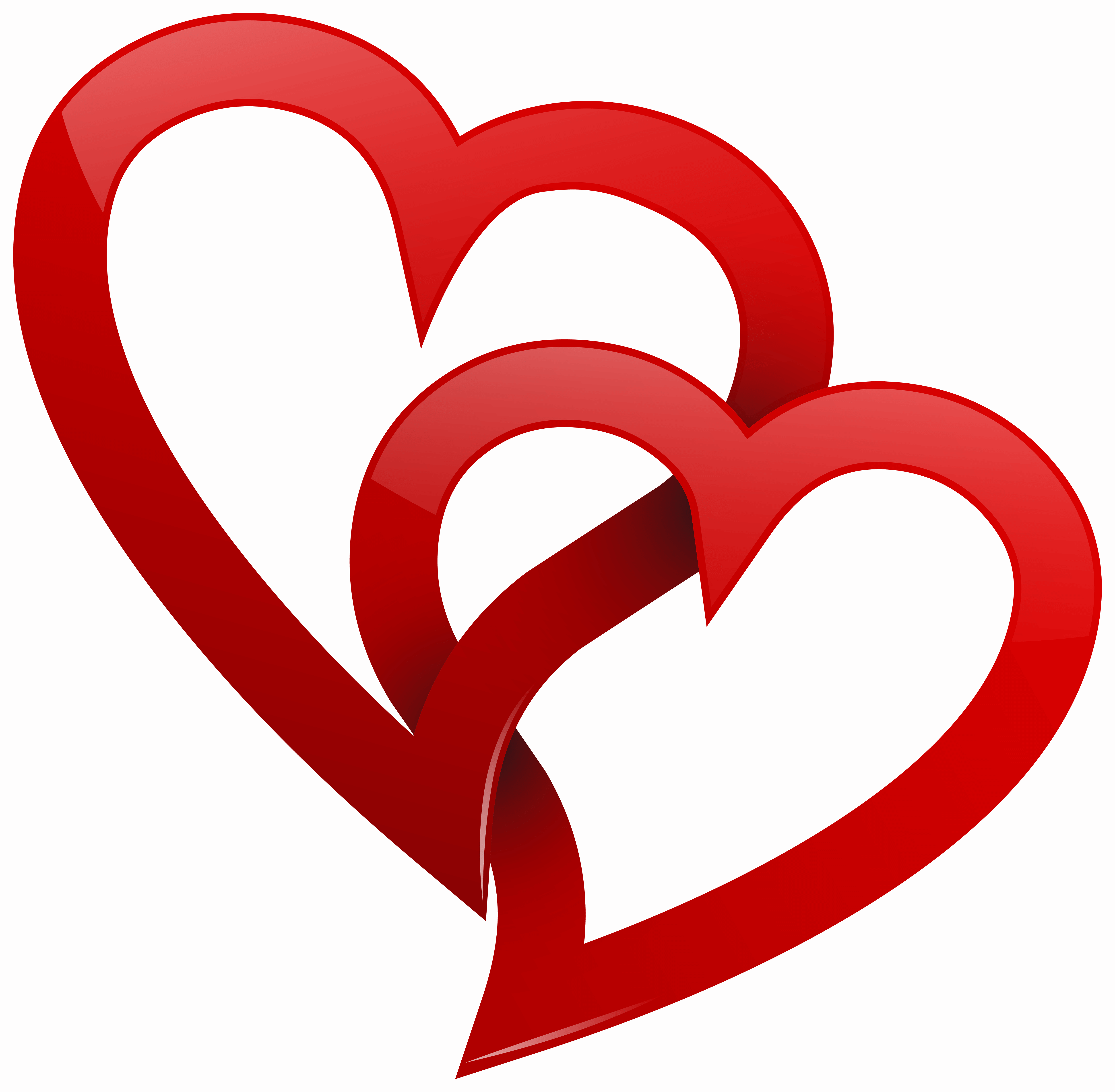 two red hearts png clipart