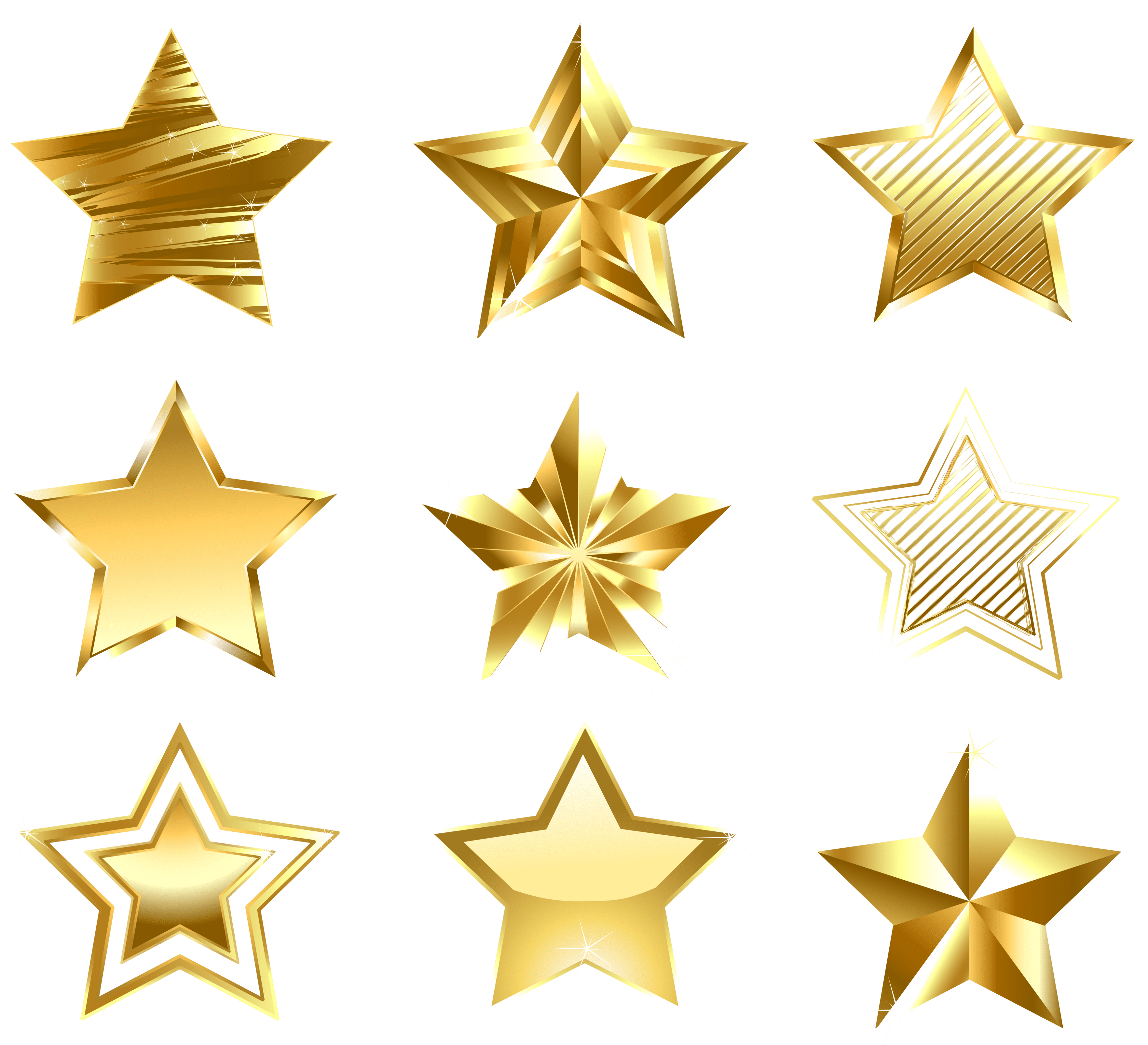 Transparent Golden Stars Set PNG Clipart