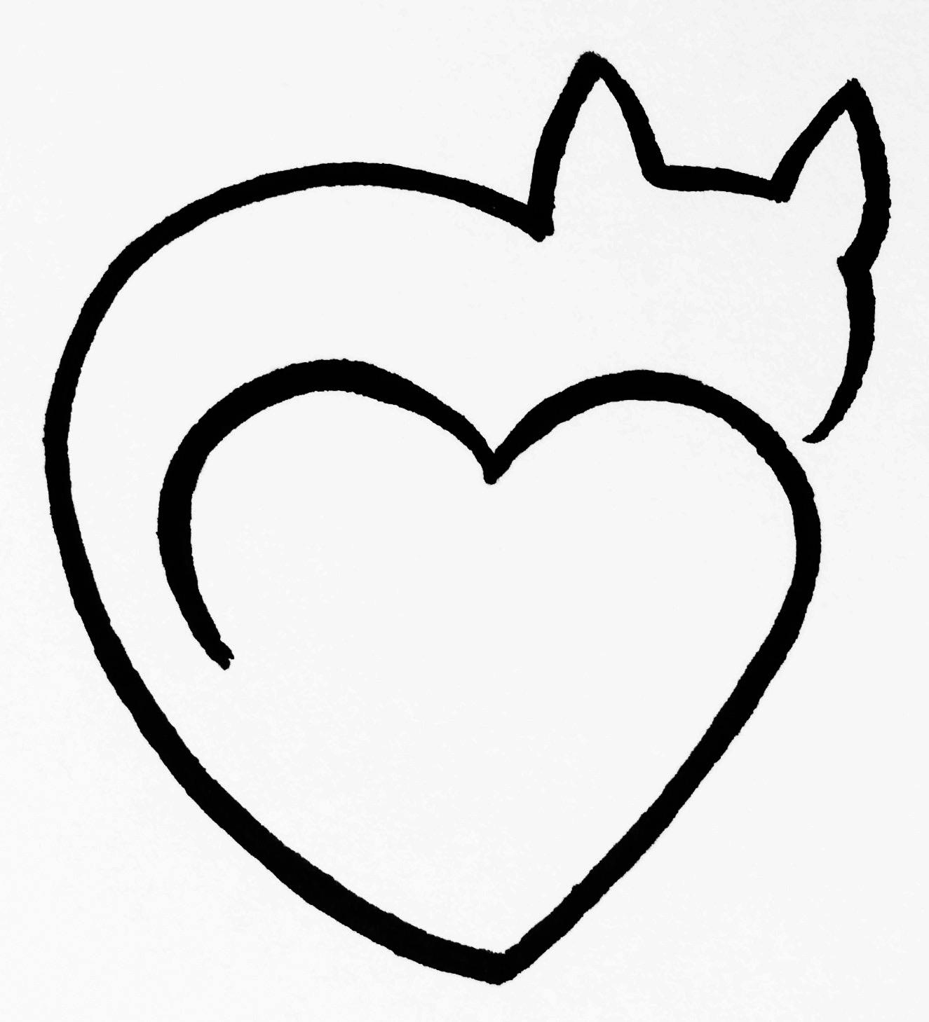 Cat Heart Clipart Black And White One Line Art By Minh Tan