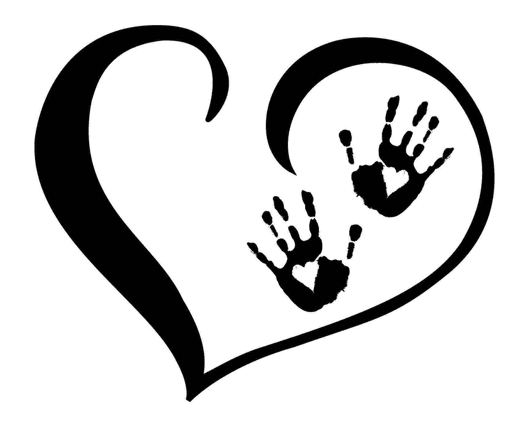 open heart clipart black and white