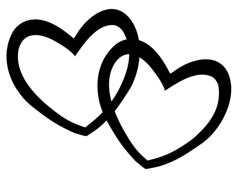 Hearts Double Heart Clipart Black And White Valentine