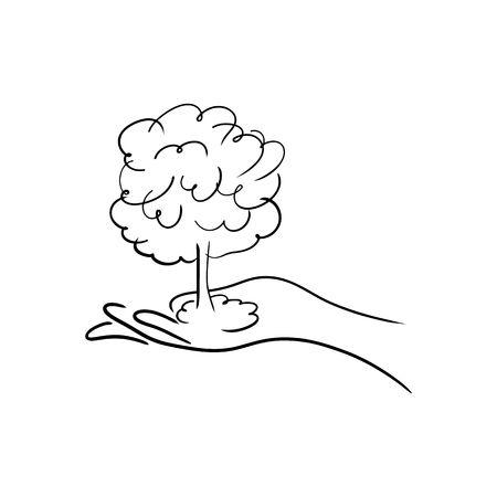 Hand Holding A Tree Clipart Black And White