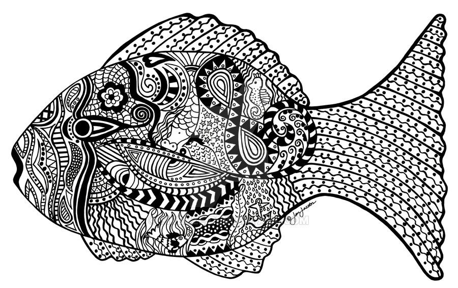 abstract fish black and white clipart